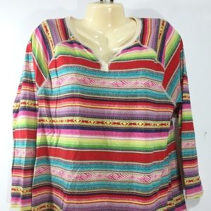 CHAPS Sport Striped Top Colorful 2XL Western